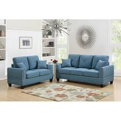 Living room sets are a wonderfully easy way to keep your seating ensemble coordinated. This living room set is perfect for your modern inspired home and includes one loveseat, and one sofa, along with four throw pillows. With a frame crafted from wood, this set is upholstered with a cotton and linen blend, and features pillow backs, flared arms, and nailhead trim. Some light assembly is required upon arrival. Sofa And Loveseat Set, Cushions On Sofa, Throw Pillows, Sectional Sofa, Accent Pillows, Sofa Living, Blue Couches, Brown Sofa, Gray Sofa