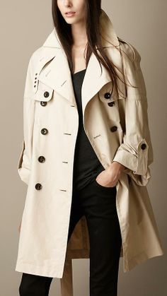 Burberry Brit London Dolman Sleeve Trench Coat