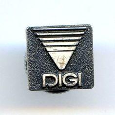 "Vtg ""DIGI"" Logo Emblem Chinese Silver Black Enamel Lapel Screw Back Pin #Digi"