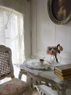 Doll house and French coffee-time - Oval tray in metal 1/12th scale. €9.00, via Etsy.