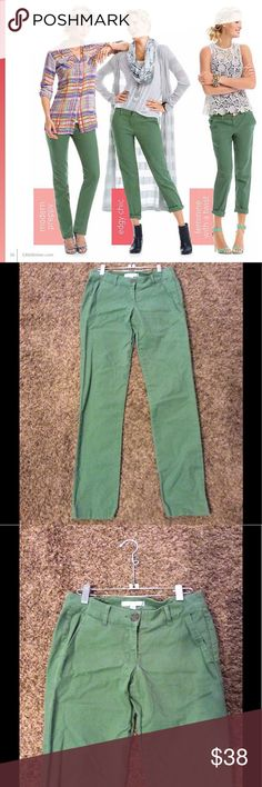 "CABI Green Slim Jeans Cute jeans for any occasion! No stains or rips. Great stretch!! Cotton and spandex Blend. Inseam is 30"" and waist is 28/29"" CAbi Jeans Skinny"