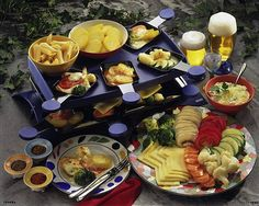 47 Raclette-Rezepte – home acssesories Raclette Party, Tapas, Good Food, Fun Food, Dairy, Cheese, Meat, Baking, Meals