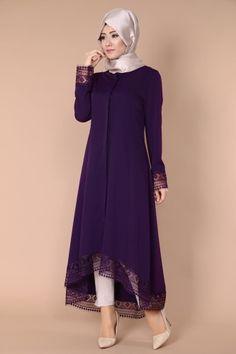 G.M.Z. Tesettür - Dantel Detay Peplum Kap AH2123 Mürdüm Abaya Fashion, Muslim Fashion, Modest Fashion, Boho Fashion, Girl Fashion, Fashion Dresses, New Dress Collection, Modele Hijab, Hijab Style