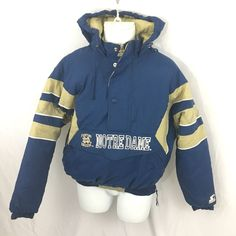 dbe3c18e2516 Notre Dame Starter Jacket Mens Size Medium Pullover Style Puffy Hooded Blue