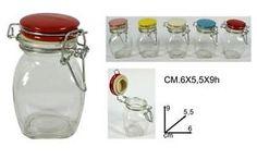 PORTASPEZIE-IN-VETRO-C-COPERCHIO-ERMETICO-CM-6X5-5X9h-COLORI-ASSORTITI