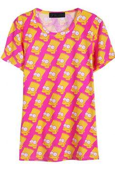 01ea3276b8b Rose Red Short Sleeve Cartoon Simpson Print T-Shirt Simpsons Shirt