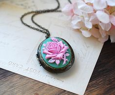 Large Green Powder Pink Rose Cameo Locket Necklace. Vintage Inspired Victorian Antique Brass Oval Locket Necklace. Unique Gift