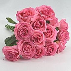 12pcs Silk Artificial Rose Flowers Home decorations for Valentine's Day Gifts Party Event (pink)