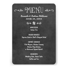 Dinner Menu Card   Black Chalkboard Charm