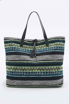Ecote Oversized Tapestry Beach Bag in Neon Lime Tapestry Beach, Urban Outfitters, Lime, Neon, Shoulder Bag, Bags, Fashion, Clothing, Handbags