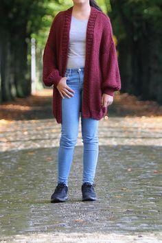 Merino Soft Chunky Knit Cardigan Burgundy Loose Knit Floral Wallpaper Iphone, Chunky Knit Cardigan, Women's Sweaters, Hand Knitting, Burgundy, Trending Outfits, Etsy, Beautiful, Fashion