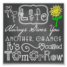 Another Chance Chalkboard Look Poster #posters #inspirational #sayings