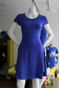 Chartreuse Style: Stefany Davies easy wearing 2 tiered, rayon from bamboo Dress. Made in Canada.