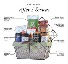 "The ""After 5 Snacks"" Gift Basket makes a great gift for a family or an office!  