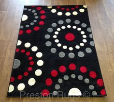 Rug Runner Modern Spots Circles Black Red Silver Grey Cream Small Medium Large