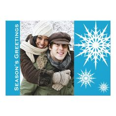 Fresh and modern, this snow inspired Christmas holiday photo flat card will delight your friends and family. Easy to create your one of a kind custom holiday card with our photo and text template. Simply add your own picture and customize the text. For best results use a large or high quality photo. Not sold in stores, our designs are exclusive! Fresh and fun design stands out among the crowd. Square, comes complete with envelope for each card Season's Greetings Snowflake Holiday Flat Cards