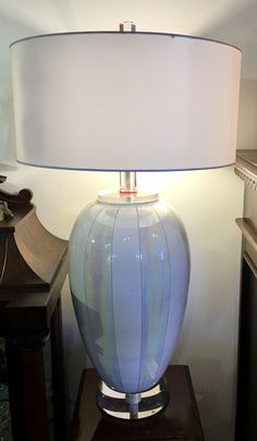 """Signed Italian Murano Glass Mid Century Lamp   Two Sockets  Hi - Low Line Switch  34"""" Tall   $685  Dealer #7373  LOST . .again Antiques & Decor 148 Riveredge Dallas, TX 75207"""