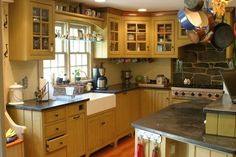 Primitive Kitchen Cabinets | this is a kitchen in primitive fashion the cabinetry is knotty pine ...