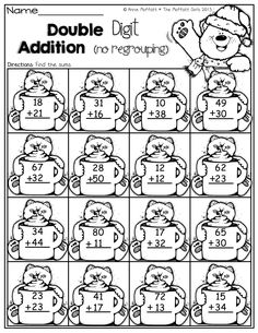 Double Digit Addition with no regrouping! Double Digit Addition with no regrouping! Go Math, Math For Kids, Math Resources, Math Activities, Math Doubles, School Worksheets, Math Coloring Worksheets, First Grade Worksheets, Alphabet Worksheets