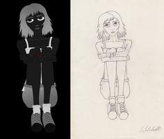 Girl: Main Charakter of the Video; sketch and graphic Mädchen: Hauptfigur des Videos, Grafik und Skizze