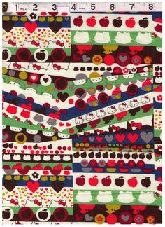 FAT QUARTER  Liberty of London Hello Kitty Rows  by fabricsupply