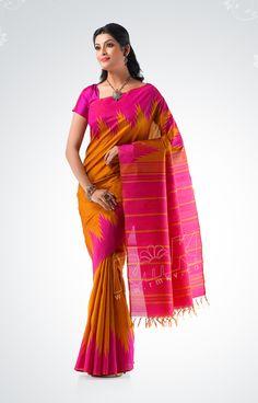 Plain mustard yellow pure silk saree with pink temple border and pink pallu - RmKV Silks