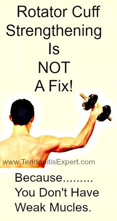 Rotator Cuff Strengthening isn& done with weights and exercises, it& done by restoring function to the muscle(s) Shoulder Rehab Exercises, Shoulder Workout, Shoulder Stretches, Shoulder Tendonitis Exercises, Shoulder Injuries, Shoulder Muscles, Sore Shoulder, Shoulder Joint, Rotator Cuff Strengthening