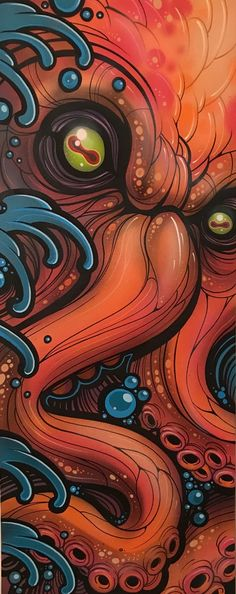"""16"""" x 40"""" gallery wrapped canvas. Acrylic and spray paint. One of one, original, and ready to ship to anywhere in the United States and C..."""