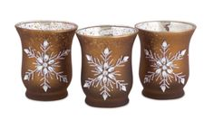 Jeweled Snowflake Mocha Brown Glass Tea Light Candle Holders Set of 3