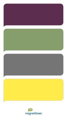 Eggplant, Sage, Charcoal, and Sunbeam Wedding Color Palette - custom color… Purple And Green Wedding, Green And Grey, Green And Purple, Grey Yellow, Gray, Purple Color Palettes, Green Colour Palette, Purple Rooms, Living Room Green