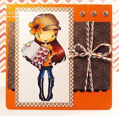 Copic card using The Greeting Farm - Anya Treats stamp.  Made by Samantha
