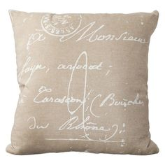 Surya Classical French Script Decorative Pillow