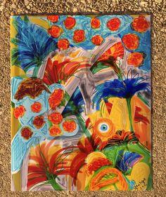 Garden Spy//Original Drawing// Contemporary Floral// Graffiti Style//Evil Eye
