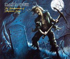 The Reincarnation of Benjamin Breeg | Iron Maiden  Como o título da música e a arte mostram bem, o Eddie criado por Melvyn Grant usa uma picareta para quebrar o túmulo de Benjamin Breeg.