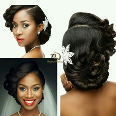 Nigerian Wedding Presents Gorgeous Bridal Hair & Makeup Inspiration By Unique Be. Nigerian Wedding Presents Gorgeous Bridal Hair & Makeup Inspiration By Unique Berry Hairs & Dave Sucre African American Bride Hairstyles, African Wedding Hairstyles, Natural Wedding Hairstyles, Girl Hairstyles, Black Hairstyles, Bridal Hairstyles, Shaggy Hairstyles, African American Brides, Hairstyles Pictures