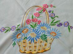 vintage flower basket - embroidery pattern