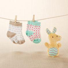 """""""Kangarooties"""" Plush Plus Rattle & Socks for Baby http://timelesstreasure.theaspenshops.com/kangaroo-plush-plus-rattle-and-socks-for-baby.html"""