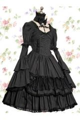 Sweetheart Empire Lace Trim Knee-length Cotton Gothic Lolita Dress With Tiers