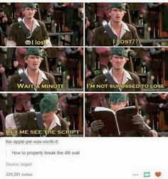 To the guy who said Monty Python and The Holy Grail is best medieval comedy, I raise you this! (Robin Hood: Men In Tights) Tumblr Funny, Funny Memes, Funny Videos, Breaking The 4th Wall, Funny Cute, Hilarious, Movie Quotes, Comedy Quotes, Lyric Quotes