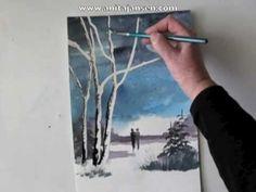"Sweet watercolor video.....Watercolour demo aquarelle  ""A walk to remember"""