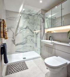 Marble bathroom goals at our Beaufort Park apartment Modern Marble Bathroom, Small Bathroom, Bathroom Design Luxury, Modern Bathroom Design, Wet Room Shower, Bathroom Design Inspiration, Toilet Design, Bathroom Goals, Bathroom Styling