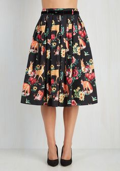 Aura and Fauna Skirt. Give your alluring air a complementary visual enchantment with this black midi skirt! #black #modcloth