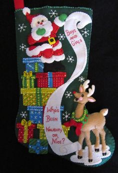 Bucilla The List 18 Completed Boy Or Girl, Messages, Let It Be, Stitch, Christmas Ornaments, Holiday Decor, How To Make, Stockings, Sequins