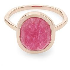 Rose Gold-Plated Pink Quartz Medium Siren Stacking Ring Liberty London (465 ILS) ❤ liked on Polyvore featuring jewelry, rings, stacking rings jewelry, pink quartz ring, liberty jewelry, pink jewelry and pink ring