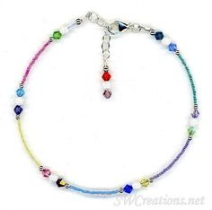 Crystal Sparkle Mix Beaded Anklet - SWCreations