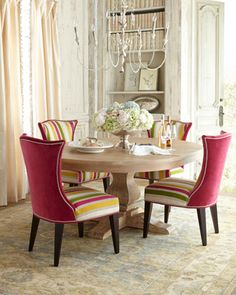 Horchow Lee Industries Taylor Pedestal Table & Kalli Dining Chair - home decor (pink, green dining room furniture) Dining Room Chairs, Dining Room Furniture, Table And Chairs, Fine Furniture, Furniture Sale, Beautiful Dining Rooms, Elegant Dining, Round Dining Table, Fine Dining
