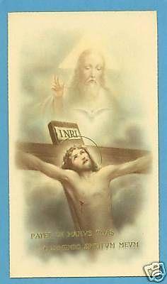 VINTAGE-Catholic-Holy-Card-HOLY-TRINITY-Crucifix-Unique-picture