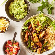 You'll never miss the tortilla. We made these low-calorie burrito bowls with spicy, protein-packed pork, high-fiber cauliflower rice, fresh pico, and a variety of crunchy, delicious veggies. Watch our video to see how it's done!/