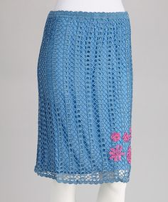 Take a look at this Blue Embroidered Crocheted Skirt by Papillon Imports on #zulily today!