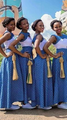African shweshwe Styles and Outfits 2018 - Reny styles by diyanu fashion magazine African Bridesmaid Dresses, African Wedding Attire, African Print Dresses, African Print Fashion, African Fashion Dresses, African Attire, African Dress, African Outfits, African Weddings
